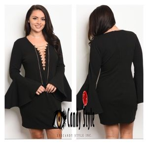Black plus size bell sleeve lace up dress